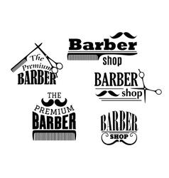 Black retro barber shop icons vector image vector image