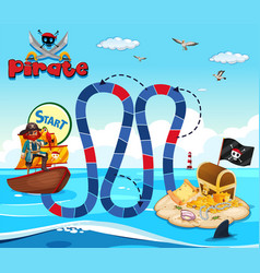 boardgame template with pirate and treassure vector image vector image