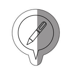 monochrome contour sticker with pen icon in vector image vector image