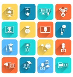 Online Education Icons Flat vector image vector image