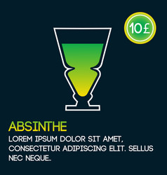 Absinthe cocktail card template with price and vector