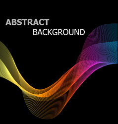 Abstract colorful line wave on black background vector