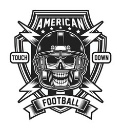 American football skull emblem isolated on white vector