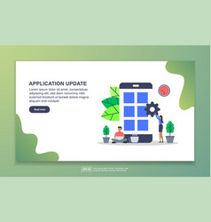 application update concept with tiny people vector image