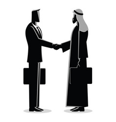 Arabic businessman shake hand with western vector