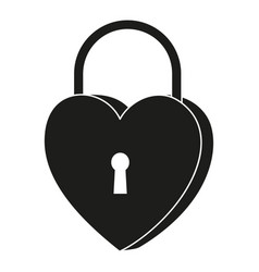 Black and white heart padlock silhouette vector