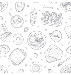 breakfast menu hand drawn seamless pattern with vector image