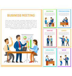 Business meeting of team in office employment vector