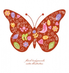 butterfly floral elements vector image