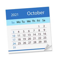 Calendar sheet on month of october 2021 vector