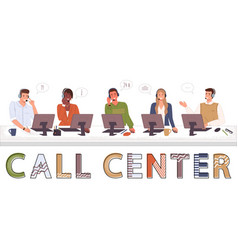 call center hotline suppoters office workers vector image