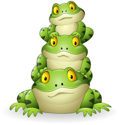 cartoon frog stacked isolated on white background vector image