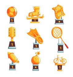 cartoon golden trophy cups awards and vector image