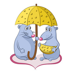cartoon mice with cheese vector image