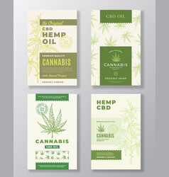 Cbd hemp oil abstract design labels bundle vector