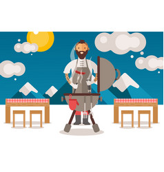chief people cooks sausages on grill vector image