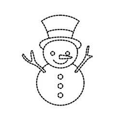 christmas snowman cartoon smile character winter vector image