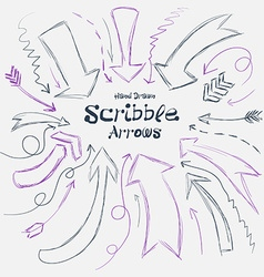 Collection of scribble arrows hand-drawn on a vector image