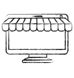 Computer and ecommerce design vector