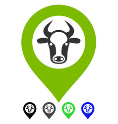 Cow map marker flat icon vector