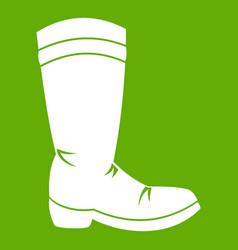 cowboy boot icon green vector image