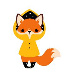 Cute little fox standing in yellow raincoat vector