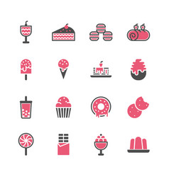 dessert icon set in flat design vector image