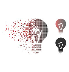 Disappearing pixel halftone hint bulb icon vector