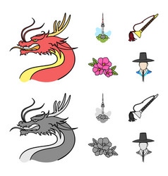Dragon with mustache seoul tower national vector
