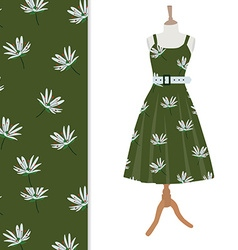 Dress with flower pattern vector