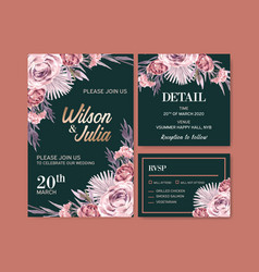 Dried floral wedding card design with rose leaves vector