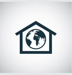 earth in home icon vector image