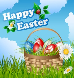 Easter card with basket and eggs vector