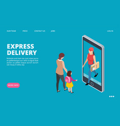 express delivery isometric fast delivery vector image