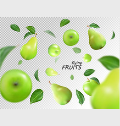 Falling green apples and pears isolated on vector