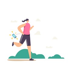 female character lose smartphone during jogging vector image
