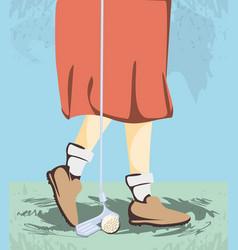 Female golfer feet on golf course vector