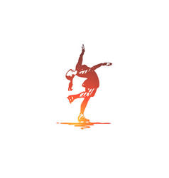 figure skating woman sport ice concept hand vector image