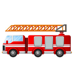 Fire truck with ladder vector