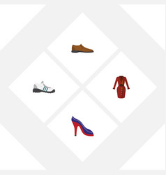 flat clothes set of male footware heeled shoe vector image