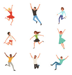 Flat set with jumping happy people joyful vector