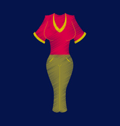 flat shading style icon women pants and shirt vector image