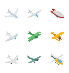 flying aircraft icons isometric 3d style vector image