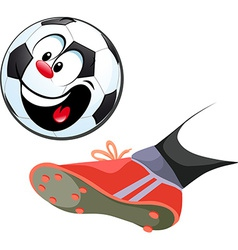 foot kicking funny soccer ball isolated vector image