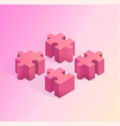 four puzzle pieces teamwork vector image