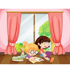 Girls reading book vector image