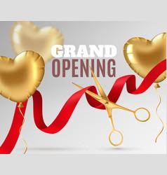 grand opening luxury festive invitation scissors vector image