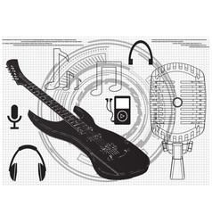 guitar microphone headphones vector image