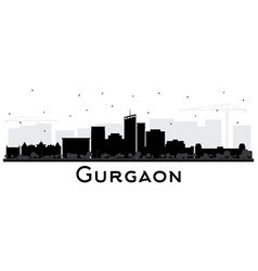 gurgaon india city skyline silhouette with black vector image
