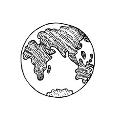 hand drawn sketch earth planet vector image